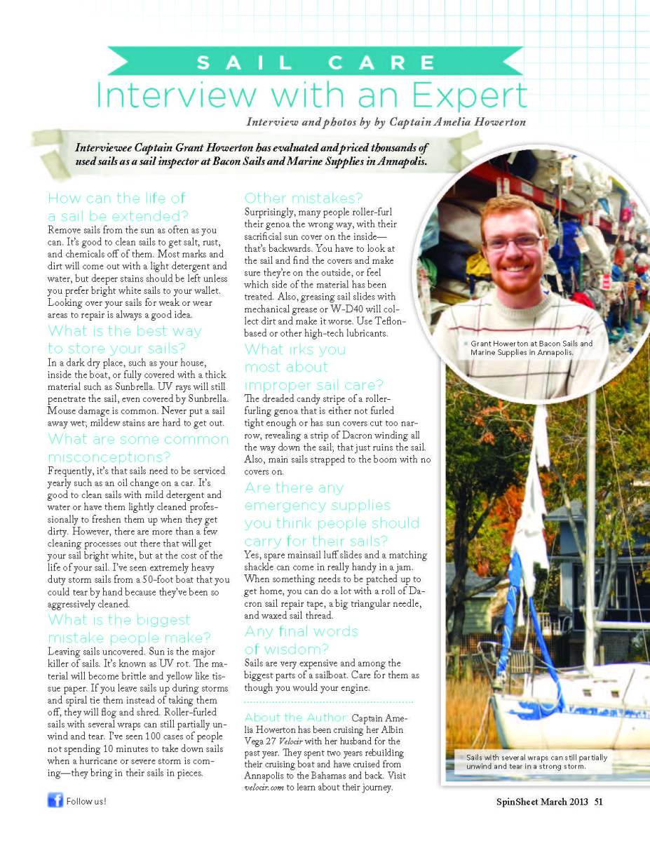 Grant's Sail Care Advice in SpinSheet Magazine!