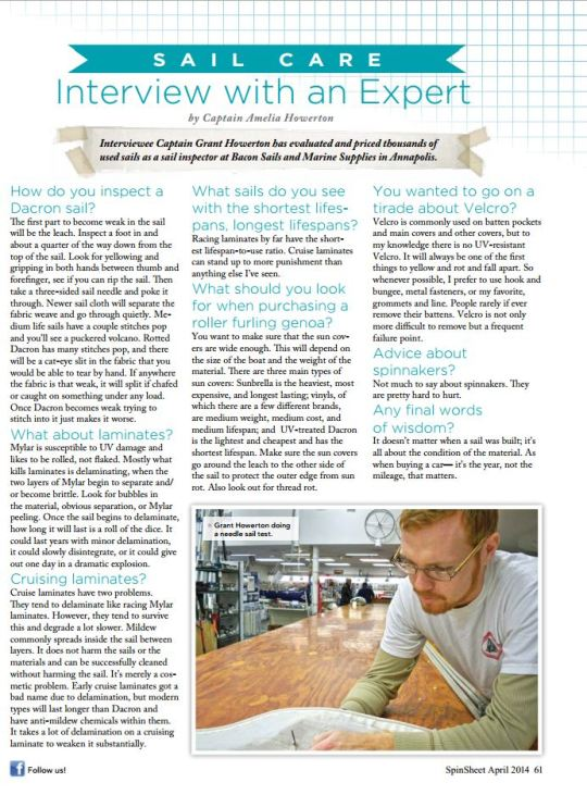 Velocir Sail Care Article in SpinSheet